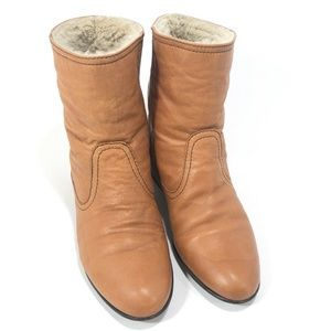 Madewell 1937 Footwear Brown Shearling Lined Boots